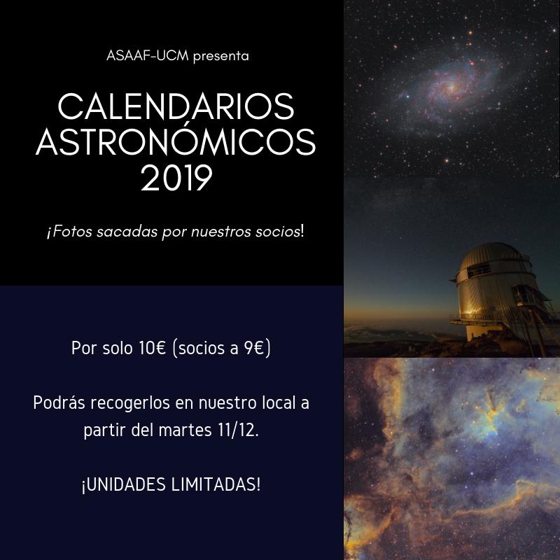 Cartel promocional de los calendarios astronómicos de ASAAF del 2019